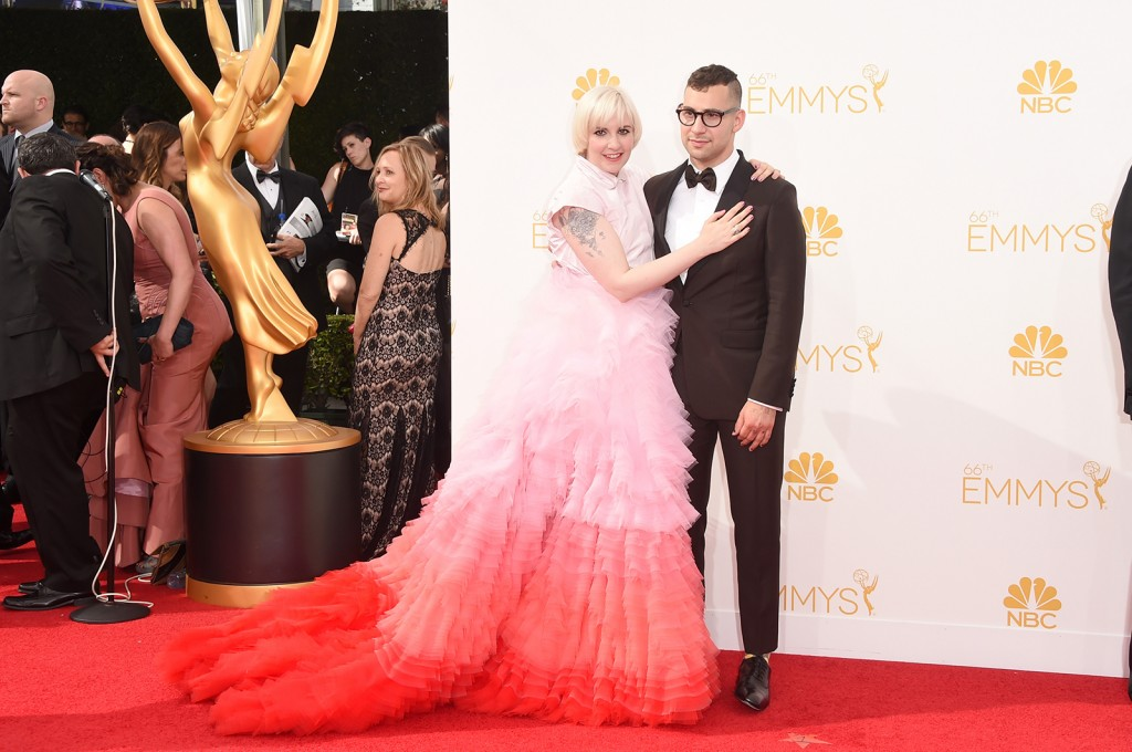 Actress/director Lena Dunham and musician Jack Antonoff attend the 66th Annual Primetime Emmy Awards held at Nokia Theatre L.A. Live on August 25, 2014 in Los Angeles, California.  (Jason Merritt/Getty Images)