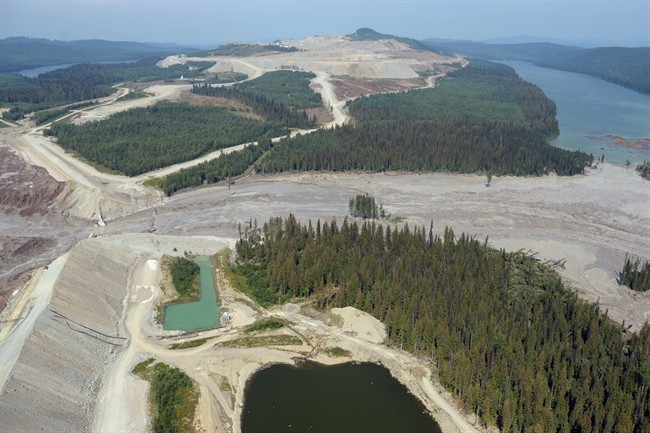 Damage from a tailings pond breach is seen near Likely, B.C. on Tuesday. A tailings pond that breached Monday, releasing a slurry of contaminated water and mine waste into several central British Columbia waterways, had been growing at an unsustainable rate, an environmental consultant says. (Jonathan Hayward/The Canadian Press)