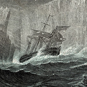 The 'Erebus' and the 'Terror' Among Icebergs. Sir John Franklin (1786-1847) British naval officer and arctic explorer commanded the 1845 expedition of the ships 'Erebus' and 'Terror' to search for the North West Passage. All members of the expedition peri