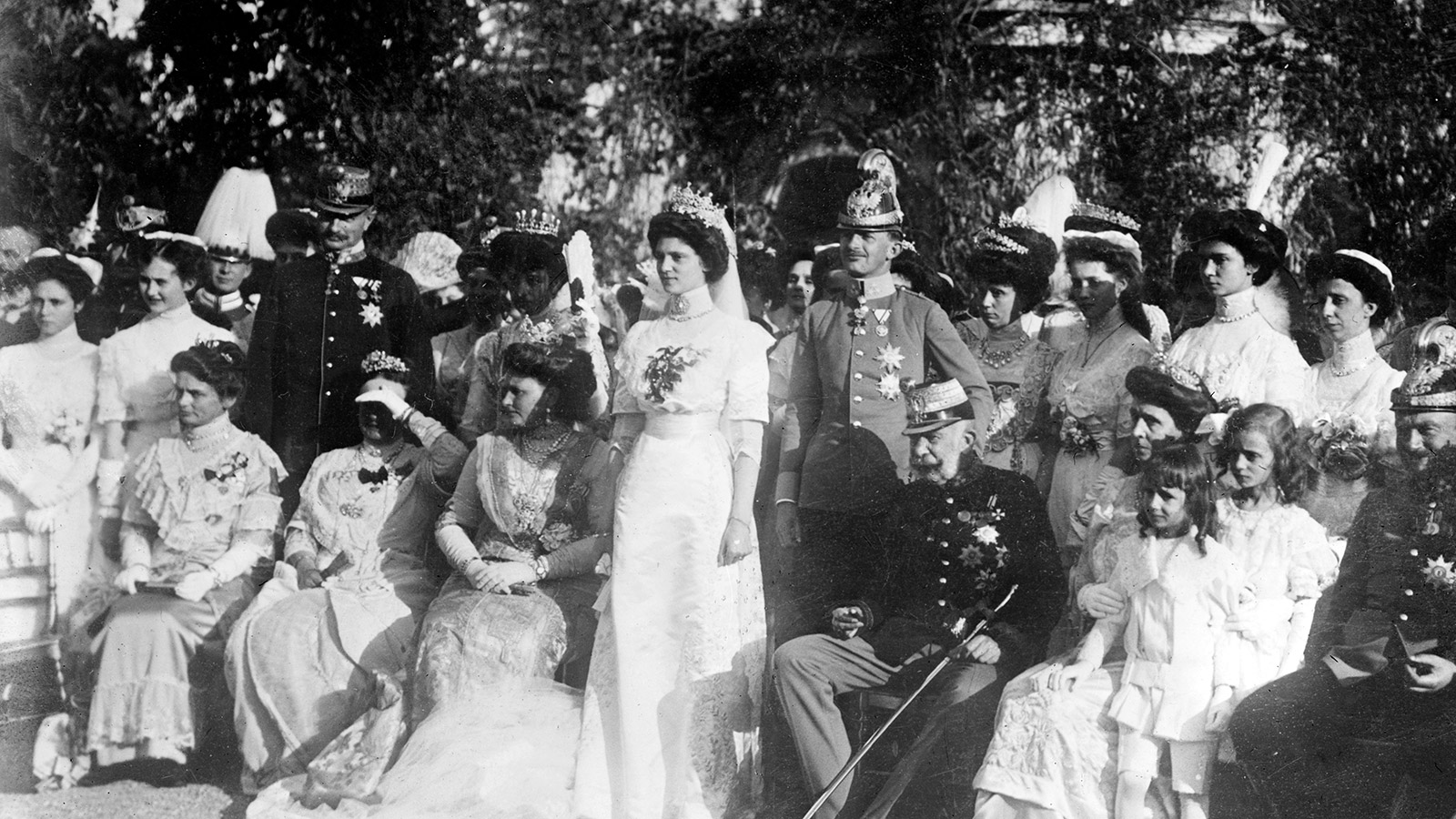Franz Joseph I (1830-1916), Emperor of Austria, seated centre, at the marriage of Archduke Charles (later Charles I) to Princess Zita of Bourbon-Parma at Schwarzau Castle, 21 November 1911.