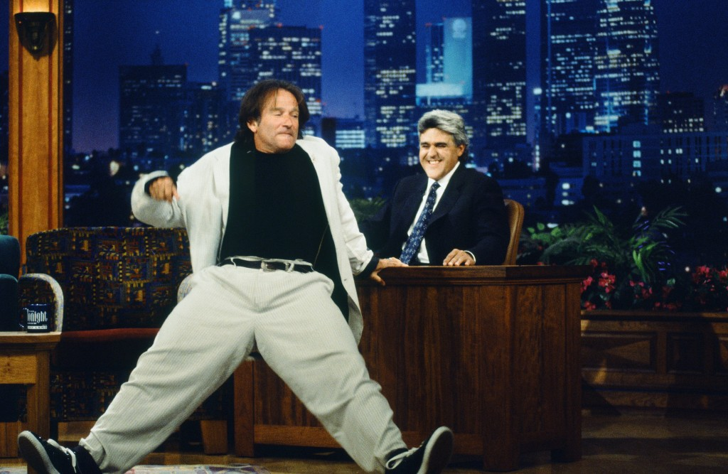 Williams cutting loose on The Tonight Show with Jay Leno in 1996 (Margaret Norton/NBC/NBCU Photo Bank via Getty Images)