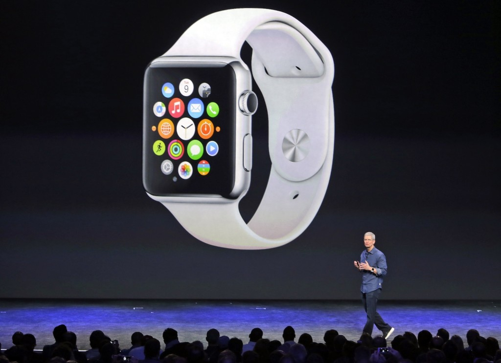 Apple CEO Tim Cook introduces the new Apple Watch in September 2014. (AP Photo/Marcio Jose Sanchez)
