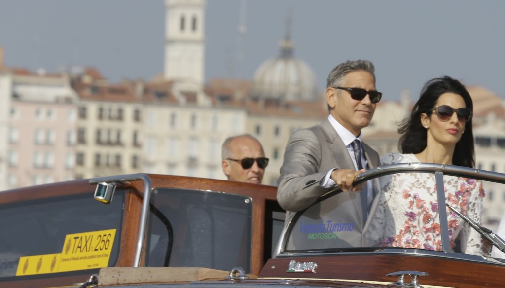 Clooney and Alamuddin in Venice on Sunday.
