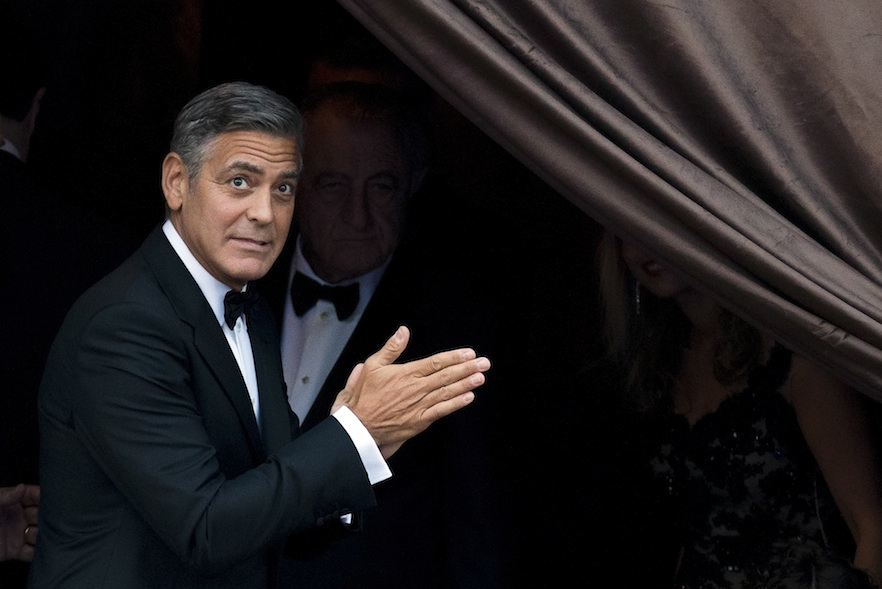 Clooney arrives at the Aman hotel ahead of the wedding.