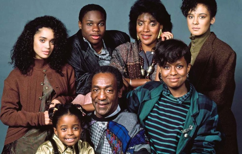 Cosby as Dr. Cliff Huxtable, with his 1980s TV family