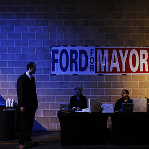 Volunteers await the start of the Toronto Mayor Rob Ford campaign launch party in Toronto