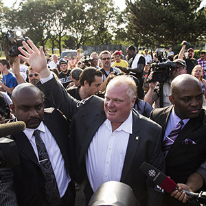 "Toronto Mayor Ford arrives at ""Ford Fest"", a party held by the Ford family where the public is invited, at Thomson Memorial Park in Toronto"