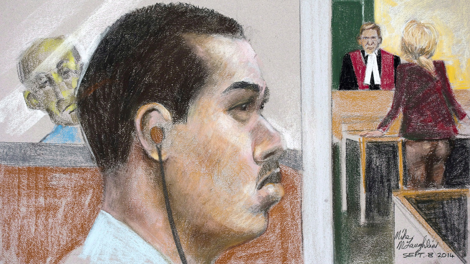 An artist's impression of Luka Magnotta is shown at the Montreal Courthouse. (Mike McLaughlin/CP)