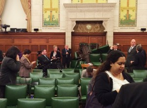 The Conservative Party caucus room is shown shortly after shooting began on Parliament Hill, in Ottawa, Ontario, October 22, 2014. (MP Nina Grewal/Handout/Reuters)