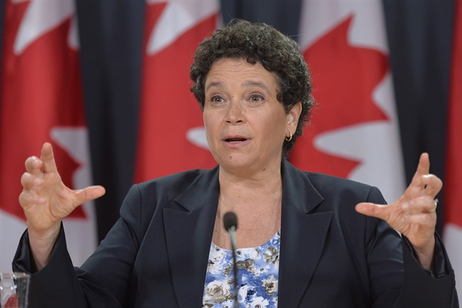 Julie Gelfand, Canada's commissioner of the environment and sustainable development, addresses a news conference in Ottawa, Tuesday, Oct.7, 2014. (Adrian Wyld/The Canadian Press)