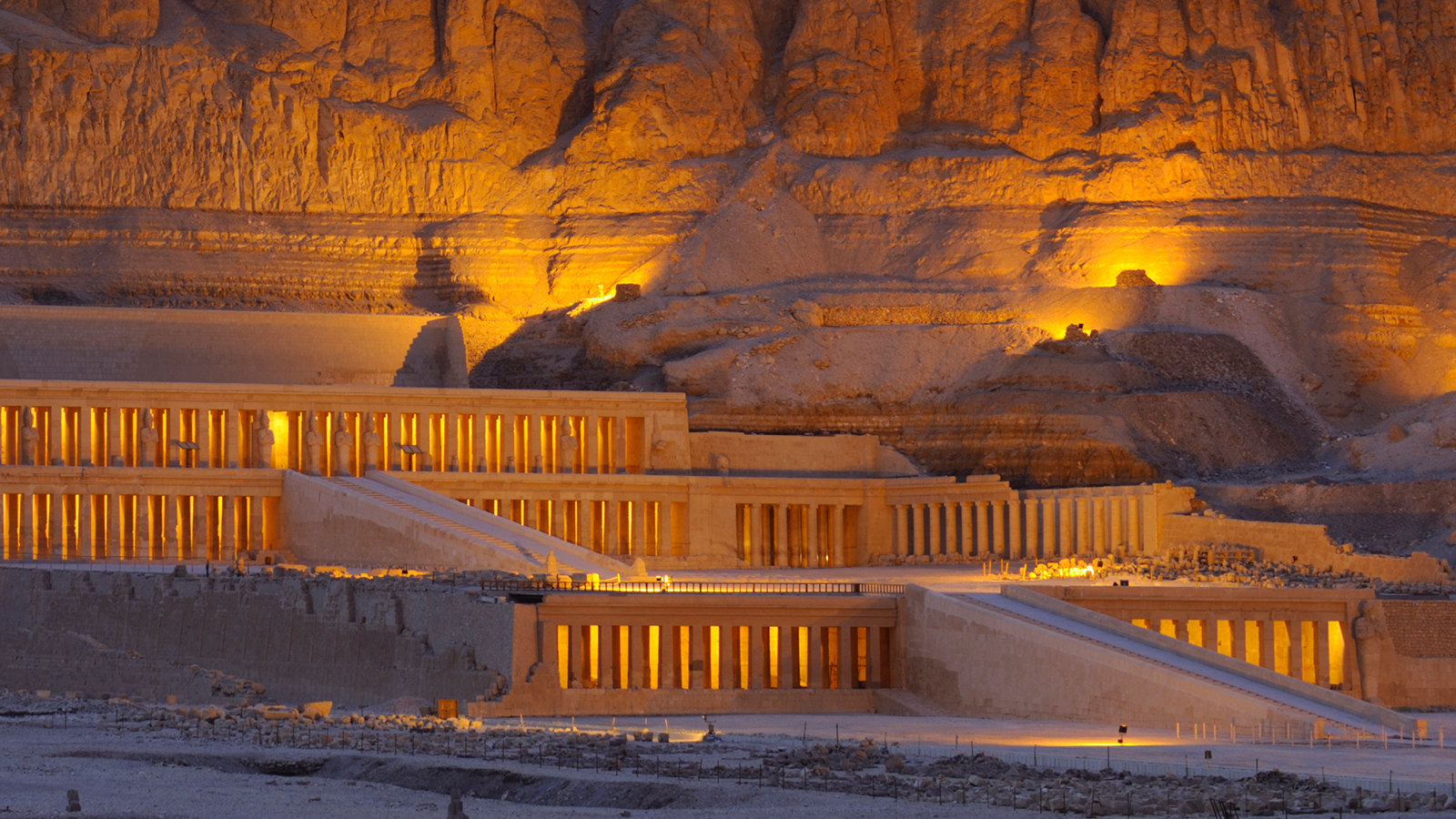 Hatshepsut's mortuary temple rises against a desert bluff. (Kenneth Garrett/Getty Images)