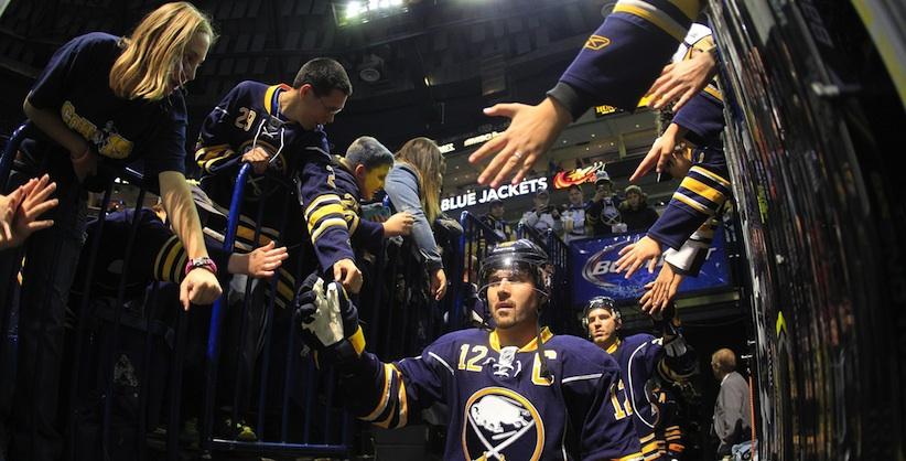 Sabres captain Brian Gionti. (AP Photo/The Buffalo News, Harry Scull Jr.)