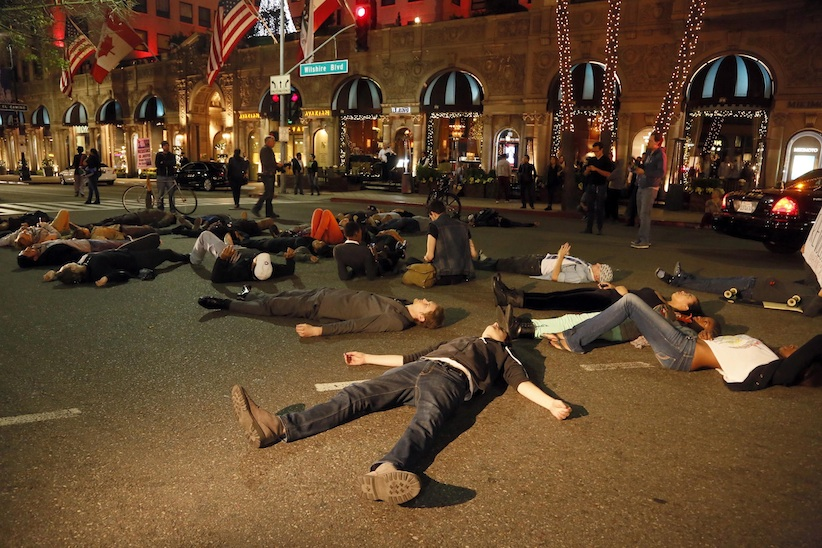 Protesters in Beverly Hills. (Nick Ut, AP)