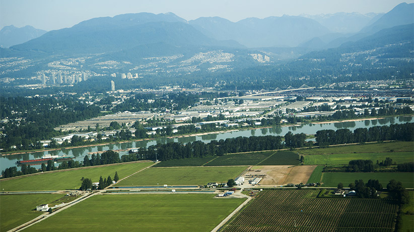 Aerial view of farmlands in the Fraser Valley near Vancouver, BC. (Marlene Ford/Getty Images)