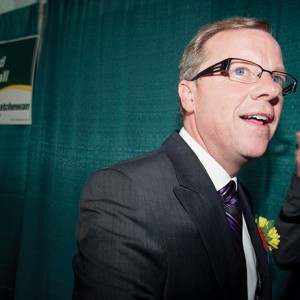 Saskatchewan Premier Wall prepares to celebrate his re-election in his hometown of Swift Current