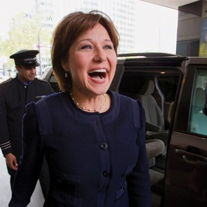 British Columbia Premier Clark addresses supporters and Liberal party caucus members at a caucus meeting in Vancouver