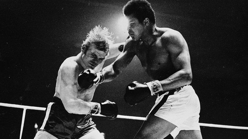 December 1971: The former world champion Muhammad Ali defeats the German Jurgen Blin in the seventh round of their twelve round contest in the Hallen Stadium in Zurich. (Central Press/Getty Images)