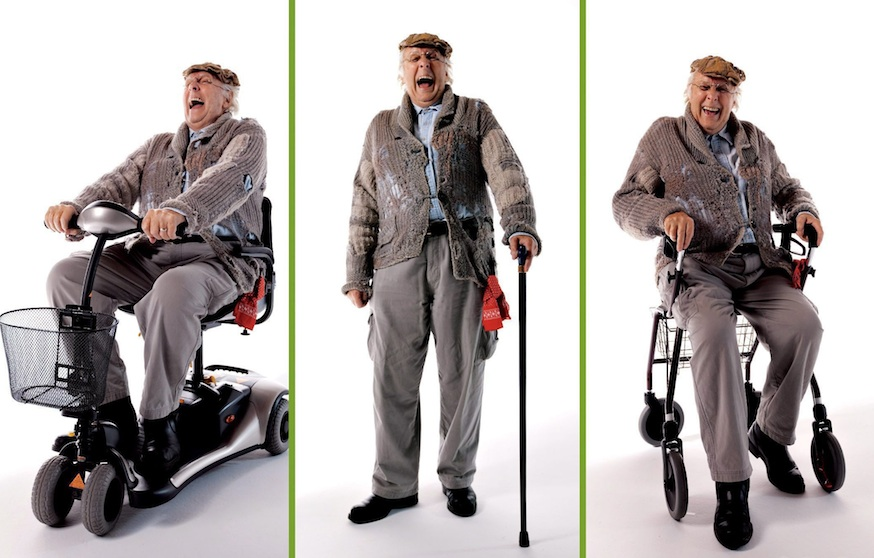 Harron in character as 'Charlie Farquharson' for the Mobility 'Now You're Going Places' campaign. (CP)