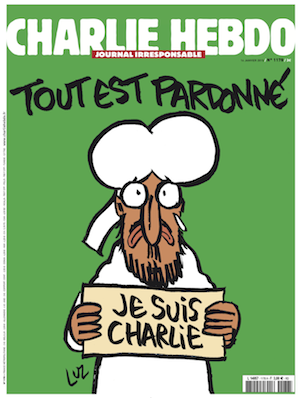 Liberation published the Charlie Hedbo cover online late Monday night. The headline reads: 'Tout est Pardonne' ('All is Forgiven.')
