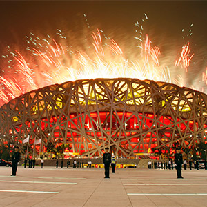 Fireworks explode over the Bird's Nest stadium during the op