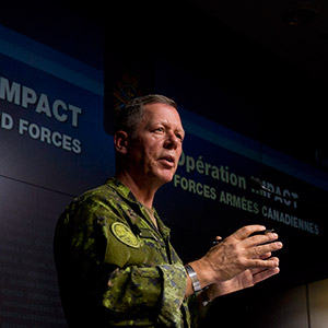 Commander of Canadian Joint Operations, Lieutenant-General Jonathan Vance, speaks during a technical briefing, Monday, January 19, 2015 (Adrian Wyld/CP)