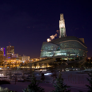 Winnipeg cityscape at night. Photograph by John Woods