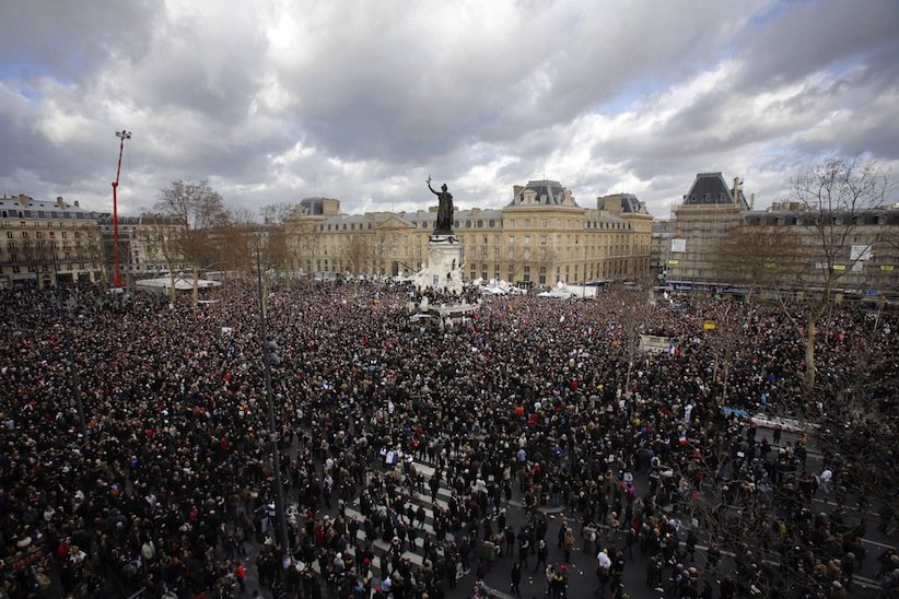 A crowd gather in Republique square before the demonstration, in Paris, France, Jan. 11, 2015. (AP)