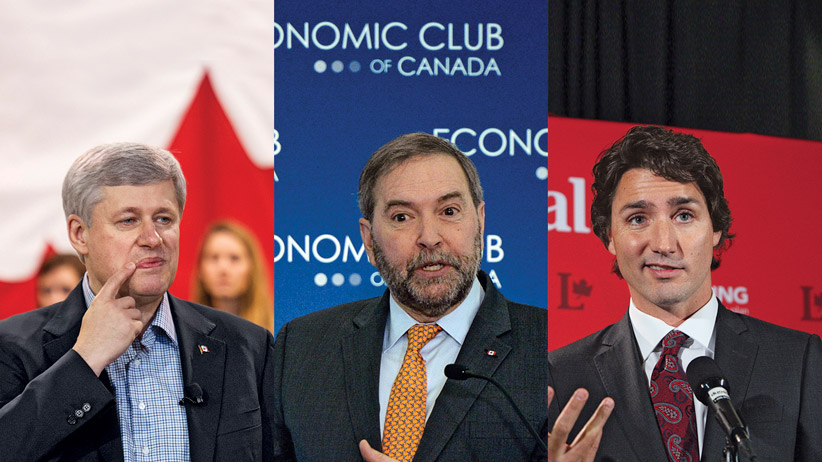 Harper, Mulcair, Trudeau.  For Geddes' piece.