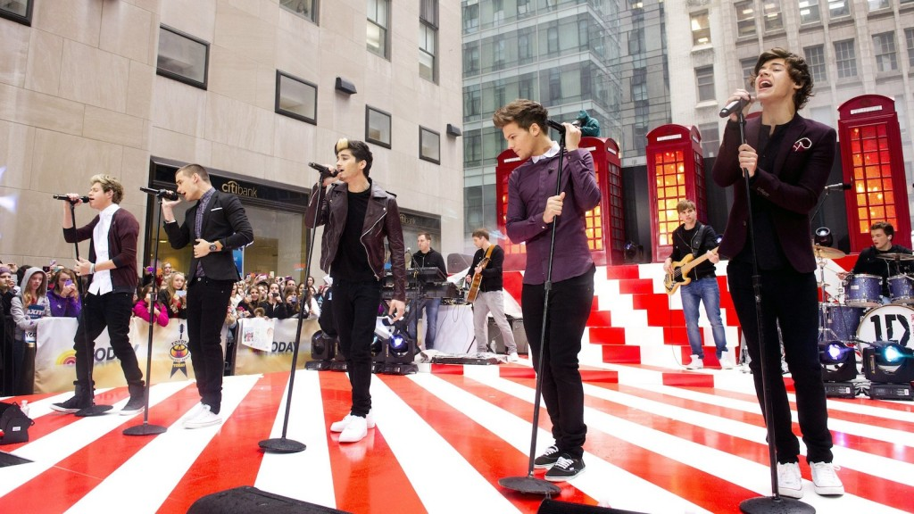 "From left, One Direction members Niall Horan, Liam Payne, Zayn Malik, Louis Tomlinson and Harry Styles perform on NBC's ""Today"" show in New York. (Photo by Charles Sykes/Invision/AP, File)"