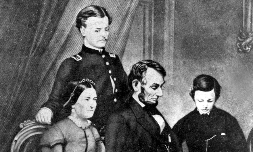 This undated painting by Schapel shows Abraham Lincoln with his wife, Mary Todd Lincoln, and their two sons, Robert Todd and Thomas Lincoln. (AP Photo)