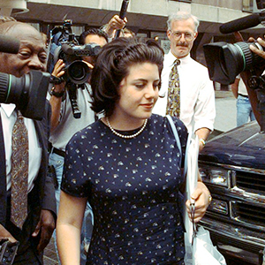 Monica Lewinsky leaving the office of her lawyer, Plato Cach