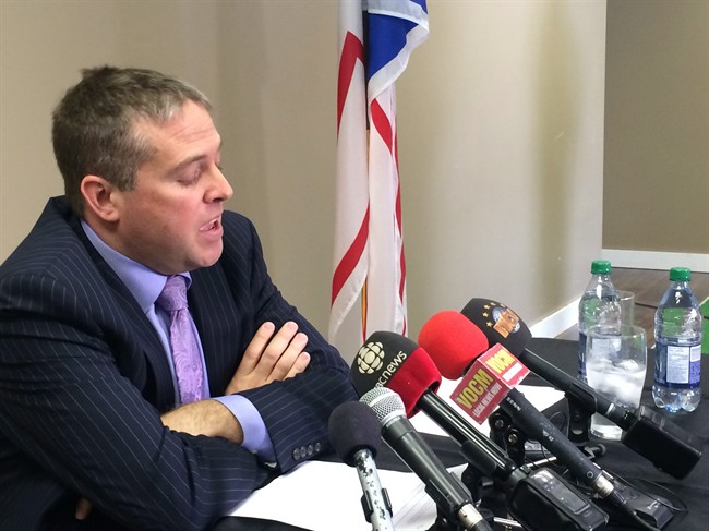 Avalon MP Scott Andrews speaks at a news conference at his constituency office in Conception Bay South, N.L., on Thursday, March 19, 2015. (Sue Bailey/The Canadian Press)