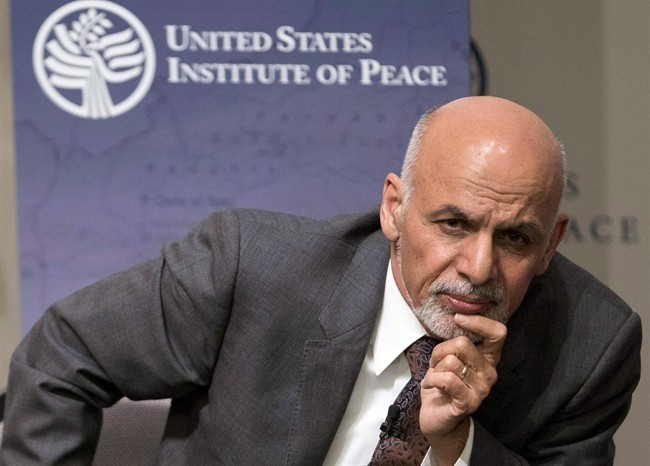 Afghanistan's President Ashraf Ghani listens to a question from the audience at the United States Institute of Peace in Washington, Wednesday, March 25, 2015. (Carolyn Kaster/AP/CP)