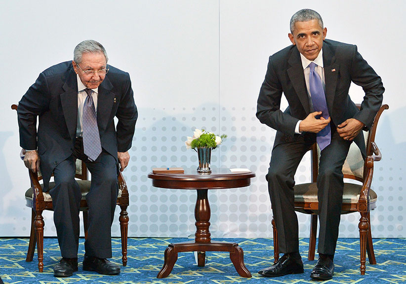 Thawing out: Cuban President Raúl Castro and U.S. President Barack Obama meet at the Summit of the Americas in Panama City on April 11 Mandel Ngan/AFP/Getty Images