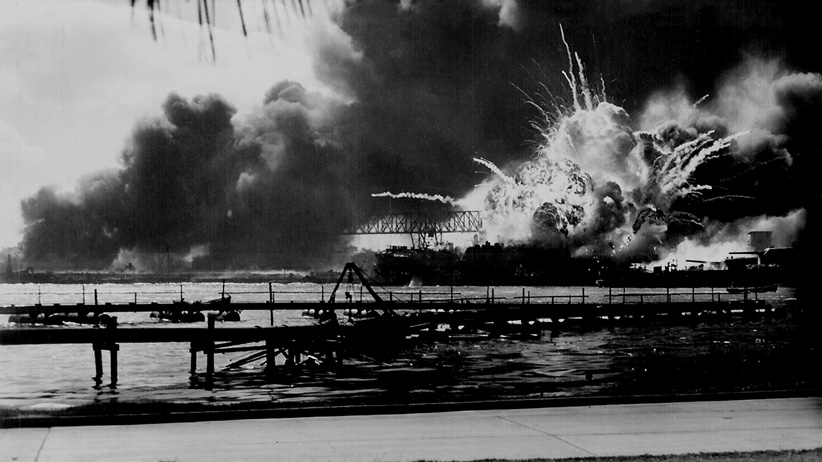 USS Shaw explodes during the Japanese raid on Pearl Harbor, December 7, 1941. (Archivio GBB/Contrasto/Redux)