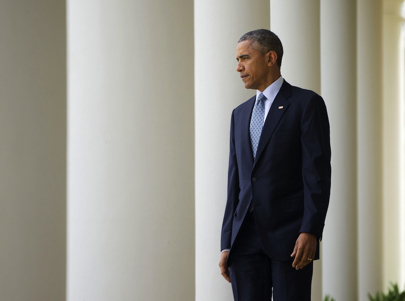 President Barack Obama walks to the Rose Garden of the White House in Washington, Thursday, April 2, 2015, to speak about the breakthrough in the Iranian nuclear talks. (AP Photo/Pablo Martinez Monsivais)