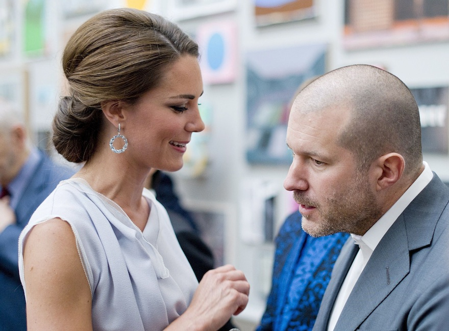The Duchess of Cambridge talks with designer Jonathan Ive, the senior vice president of Industrial Design at Apple, at the Royal Academy of Arts in London for the UK creative industries reception hosted by the British Government supported by the Founders Forum, Monday, July 30, 2012. (Geoff Pugh/AP)