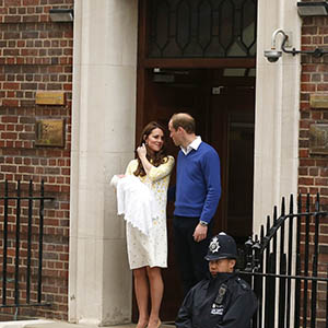 Britain's Prince William and his wife Catherine, Duchess of Cambridge appear with their baby daughter outside the Lindo Wing of St Mary's Hospital in London