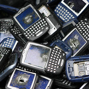 Trashed Blackberry phones sit in a bucket during the NBC Today Show in New York April 21, 2008. The phones were to be used by students in an art piece and then recycled for Green Week. (Lucas Jackson/Reuters)