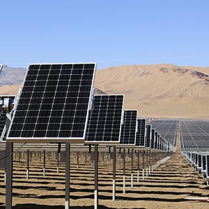 Solar panels of local mining company CAP are seen in the Atacama Desert June 5, 2014. CAP inaugurated the largest solar plant in Latin America with an area equivalent to 200 football fields and to generate enough power to meet almost all the electrical needs of an iron ore mine. The arid northern part of Chile and the southern Patagonia are ideal to generate, solar, wind or geothermal power. Picture taken June 5, 2014.  (Fabian Andres Cambero/Reuters)