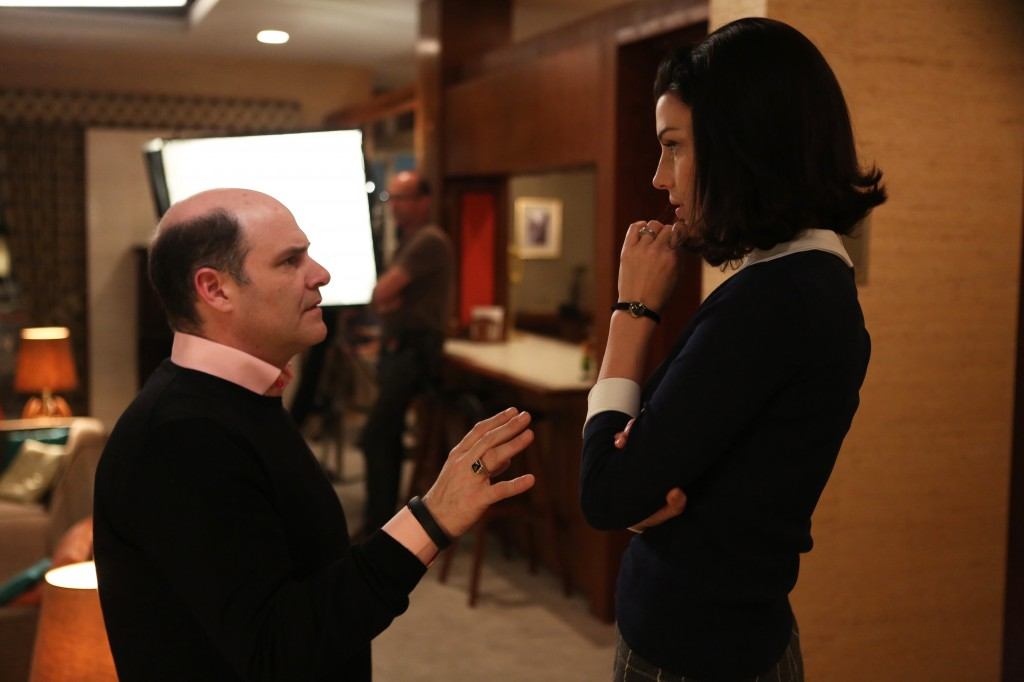 Matthew Weiner and Canadian actress Jessica Pare discuss a scene on the set of Mad Men's sixth season.   (Jamie Trueblood/AMC)
