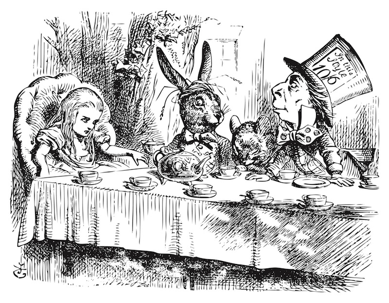 The Mad Hatter's Tea Party from the original vintage engraving of 'Alice in Wonderland,' illustrated by John Tenniel. (Shutterstock)