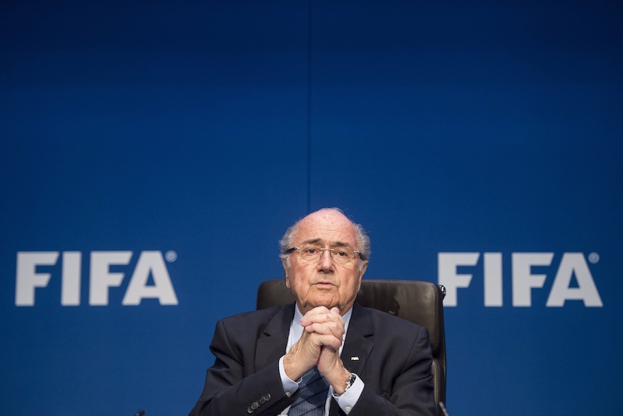 FIFA President Sepp  Blatter attends  a press conference following the FIFA Executive Committee meeting in Zurich, Switzerland, on Saturday, May 30, 2015. (Ennio Leanza/Keystone via AP)