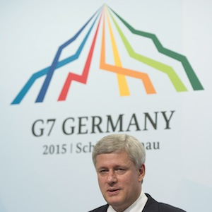 Canadian Prime Minister Stephen Harper speaks during his closing news conference following the G7 Summit near Garmisch, Germany, Monday June 8, 2015. THE CANADIAN PRESS/Adrian Wyld