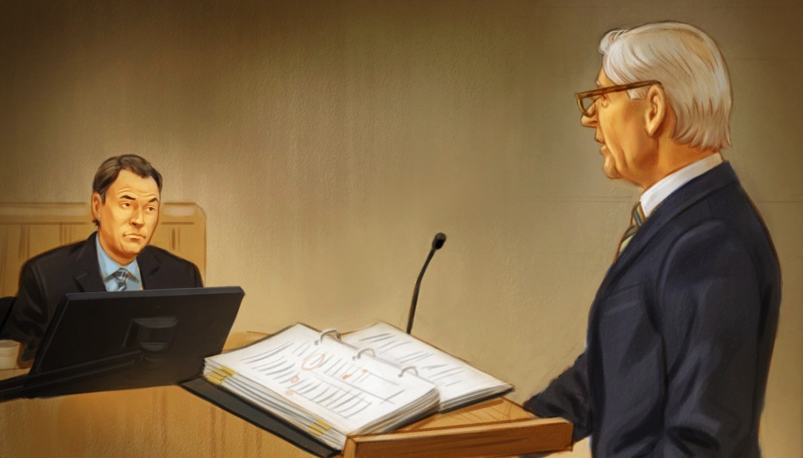 Mark Grenon and Donald Bayne Voir Dire are shown at suspended Senator Mike Duffy's trial in Ottawa on Thursday, June 17, 2015 in this artist's sketch. THE CANADIAN PRESS/Greg Banning