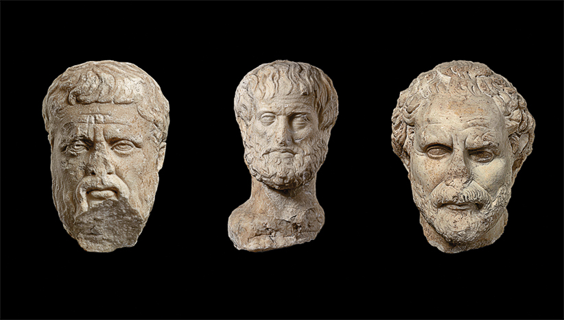 Marble heads of (from left) Plato, Aristotle and Demosthenes celebrate Athens as the birthplace of European philosophy. (Hellenic Ministry of Culture: Education and religious affairs)