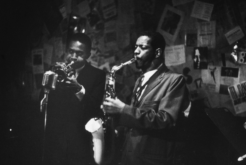 17th November 1959:  Ornette Coleman plays the saxophone and Don Cherry (1936-1995) plays the trumpet at the 5 Spot Cafe, New York City. Bob Parent/Hulton Archive/Getty Images