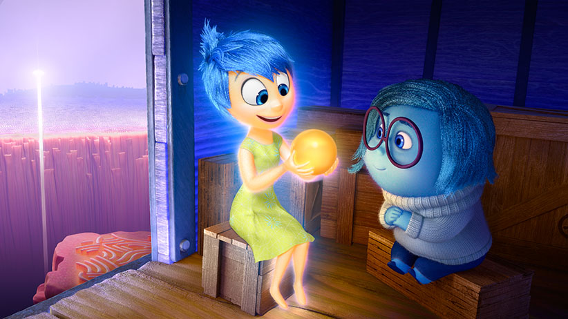 """Joy (voice of Amy Poehler) and Sadness (voice of Phyllis Smith) catch a ride on the Train of Thought in Disney Pixar's """"Inside Out."""" Directed by Pete Docter """"Inside Out"""" opens in theaters nationwide June 19, 2015. Pixar/Disney"""