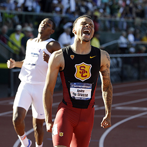 Southern California's Andre De Grasse reacts after winning the men's 200 meters during the NCAA track and field championships in Eugene, Ore., Friday, June 12, 2015. 