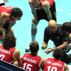 Canada's coach Glenn Hoag, right, talks to his players during a first round match between Canada and Germany at the Men's Volleyball World Championships, in Trieste, Italy, Monday, Sept. 27, 2010. Germany won 3-0. (Paolo Giovannini/AP)